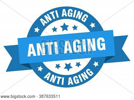 Anti Aging Round Ribbon Isolated Label. Anti Aging Sign