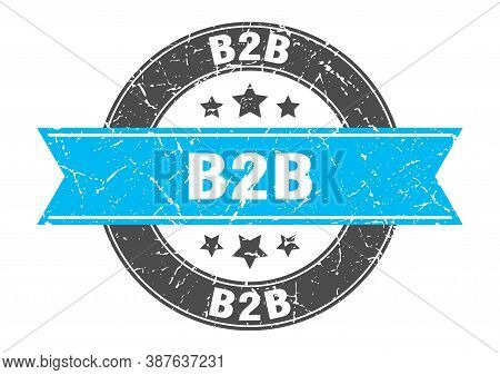 B2b Round Stamp With Ribbon. Label Sign