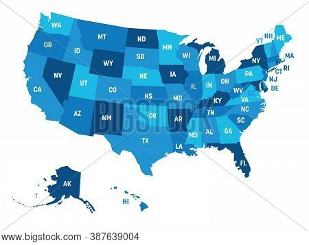 Map Of United States Of America, Usa, With State Postal Abbreviations. Simple Flat Vector Illustrati
