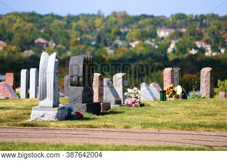September 28, 2020 In Arvada, Co:  Vintage Headstones Including A Headstone With And Engraved Angel