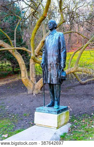 Prague, Czech Republic - February 08, 2020: Statue Of Vitezslav Augustin Rudolf Novak, Baptized Vikt
