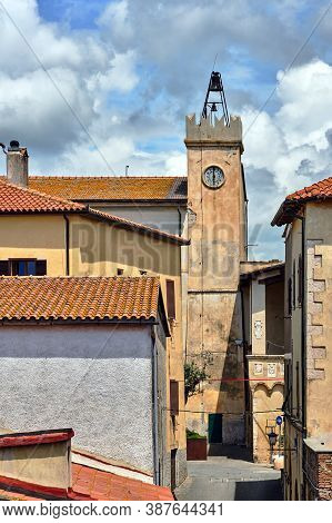 Historic Clock Tower In The City Of Magliano In Toscana, Italy