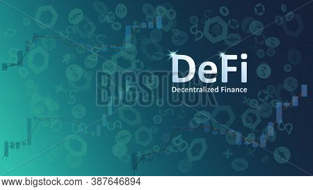 Defi Decentralized Finance On Dark Background With Graphs And Coin Symbols. An Ecosystem Of Financia