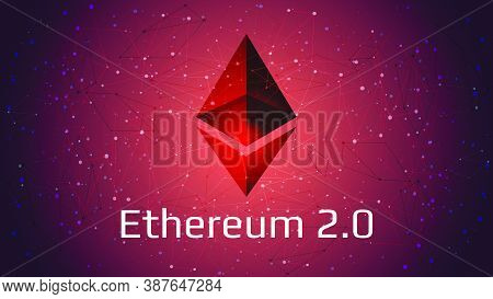 Ethereum 2.0 Updated - Cryptocurrency Coin Symbol On Abstract Polygonal Red Background. New Directio