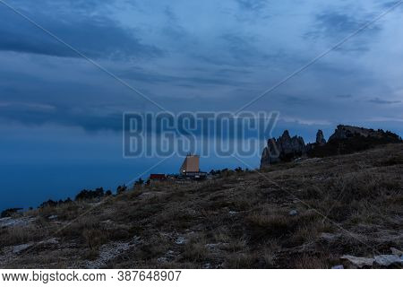 Cable Car To Ai-petri Upper Building At Dusk September 13, 2020 Yalta Crimea. The Teeth Of Mount Ai-