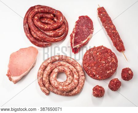 Top View On Assorted Semi-finished Meat Products On White Backgr