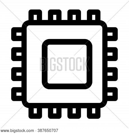 Microchip, Electronic Circuit Icon In Line Style. Hardware Components, Chip, Microprocessor. Compute
