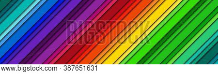 Abstract Modern Bright Header With Colored Oblique Lines. Color Spectrum Banner. Colorful Striped Pa