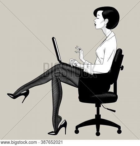 Beautiful young woman sitting on office chair with computer notebook. Retro business concept. Vintage engraving stylized drawing