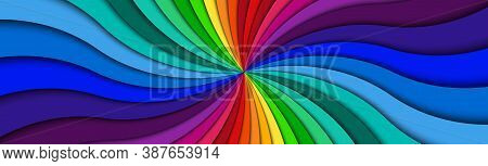 Color Spiral Header. Bright Colorful Swirling Radial Pattern Banner. Abstract Vector Illustration