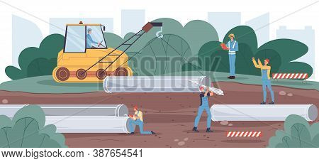 Underground Conduit Development. Pipe Laying In Ground Construction Process. People Worker Builder I