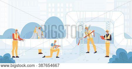 Heating Pipe Main Repair. Heat Transportation Pipeline Surveillance Maintenance. Professional Techni