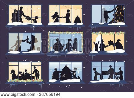 Evening Christmas Window Show Happy Family, Decorated New Year Xmas Tree Silhouette. Parent Children