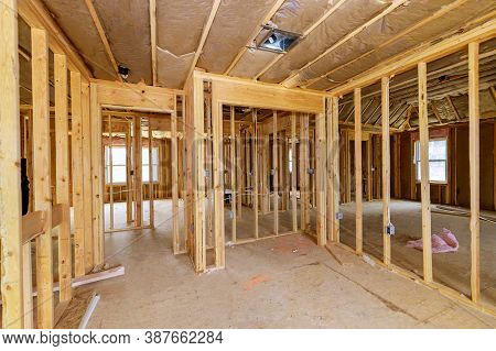 Construction Home Interior Inside A Framing On Residential Beam Framework Wooden New House