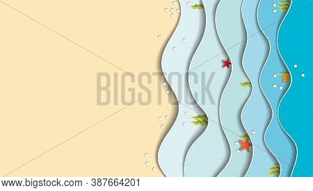 Sea Side, Paper Cutout. Blue Waves, Starfish On The Waves, Yellow Sand, Seaweed. Place For Text.