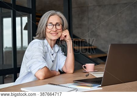 Smiling Stylish Mature Middle Aged Woman Sits At Desk With Laptop, Portrait. Happy Older Senior Busi