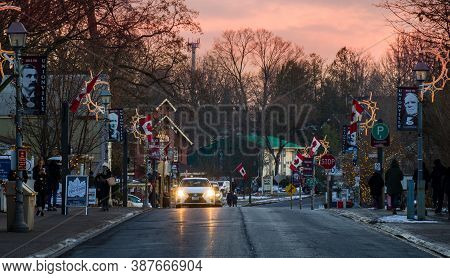 Unionville, Greater Toronto, Canada - 12 22 2019: Sunset View Along Brightly Decorated Main Street O