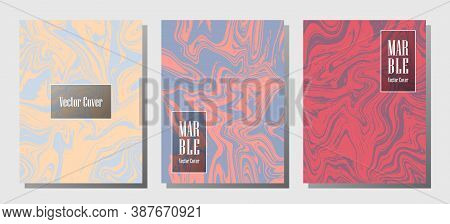 Graphic Marble Prints, Vector Cover Design Templates. Fluid Marble Stone Texture Iinteriors Fashion