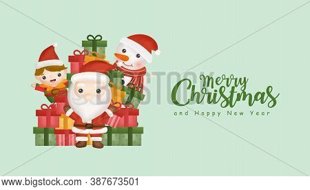 Christmas Background With Cute Santa Clause And Friends. Graphic Design Element.