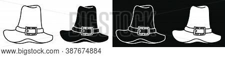 Tall Pilgrim Hat. Party Wear For Thanksgiving. History Of Development Of America. Vector In Minimali
