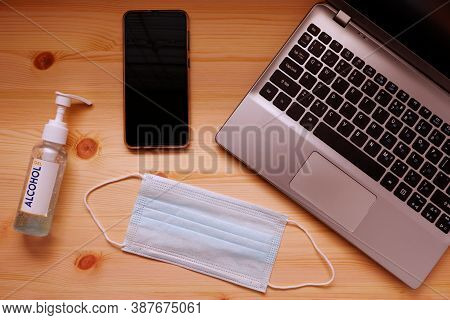 Work From Home Or Quarantine With Surgical Mask Or Hygienic Mask And Sanitizer Alcohol Gel For Hand