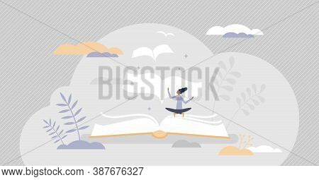 Books Message As Literature Meaning And Author Moral Idea Tiny Person Concept. Creative Idea Present