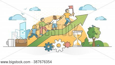 Teamwork Partnership Collaboration Help Or Assistance Outline Concept. Effective Company Business Co