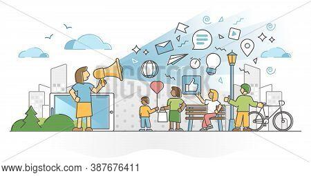 Public Communication As Mass Media Speech And Marketing Scene Outline Concept. Social Publicity Adve