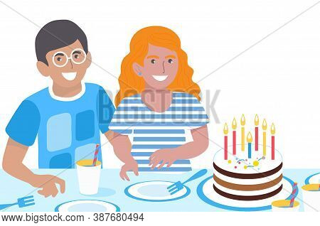 Birthday Children. Cute Girl And Boy. Happy Smiling Kids Greeting Card. Birthday Party. Sweet Cake.