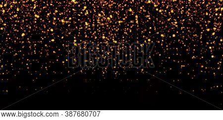 3d Illustration Golden Confetti Falling On Gold Glitter Background Glittering Festive Party Golden C