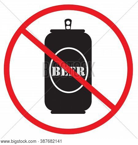 No Beer Icon On White Background. Not Allow Beer Bottle. The Red Circle Prohibiting Sing. Prohibited