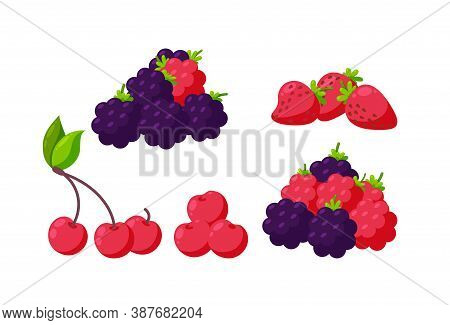 Set Of Berries Isolated In White Background. Strawberry, Raspberry, Cherry And Blackberry For Variou