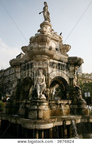 elegant statue at the flora fountain bombay india poster
