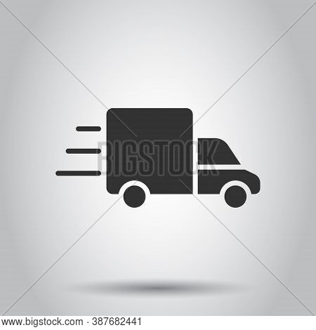 Truck Icon In Flat Style. Auto Delivery Vector Illustration On White Isolated Background. Lorry Auto