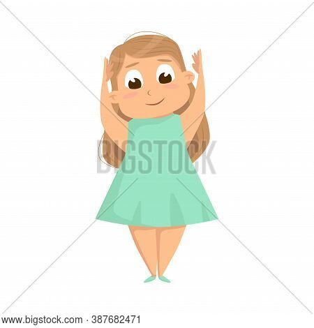 Overweight Blonde Chubby Girl, Cheerful Plump Girl Character Wearing Green Dress Cartoon Style Vecto