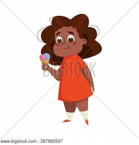 Overweight Chubby African American Girl, Cheerful Plump Kid Character Eaating Ice Cream Cartoon Styl
