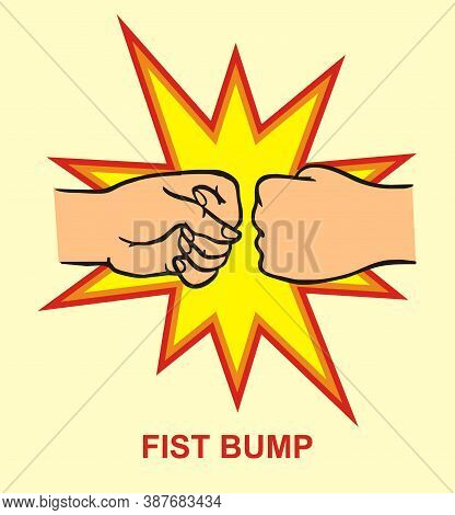 Two Fists Bumping Together, Two Hands With Fists In Air Punching, Concept Of Fight,