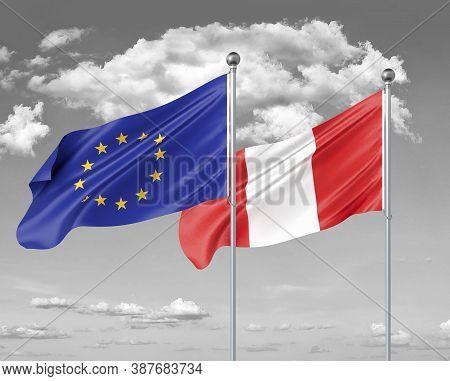 Two Realistic Flags. European Union Vs Peru. Thick Colored Silky Flags Of European Union And Peru. 3