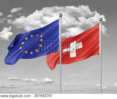 Two Realistic Flags. European Union Vs Switzerland. Thick Colored Silky Flags Of European Union And