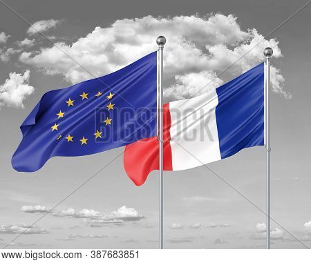 Two Realistic Flags. European Union Vs France. Thick Colored Silky Flags Of European Union And Franc