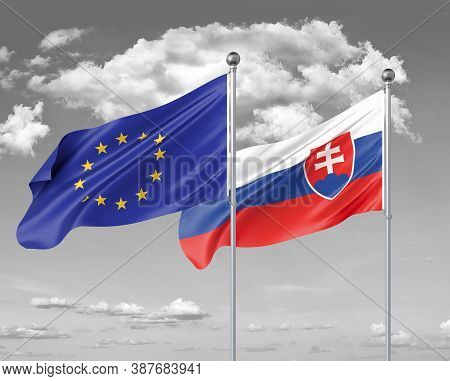 Two Realistic Flags. European Union Vs Slovakia. Thick Colored Silky Flags Of European Union And Slo