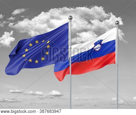 Two Realistic Flags. European Union Vs Slovenia. Thick Colored Silky Flags Of European Union And Slo