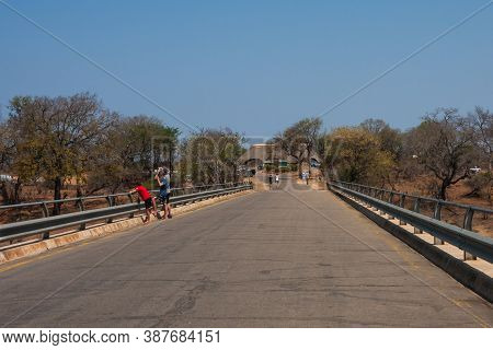 Malelane Gate, Kruger National Park, South Africa Sept 24 2020: Malelane Bridge And Entrance Gate To