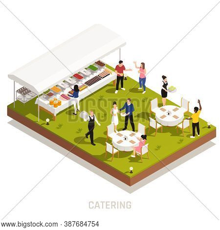 Backyard Wedding Reception Catering With Outdoor Buffet And Waiters Serving Tables On Grassy Area Is