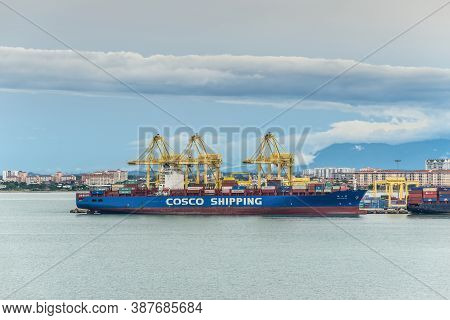 George Town, Penang, Malaysia - December 1, 2019: Container Ship Xin Tian Jin Docked At The North Bu