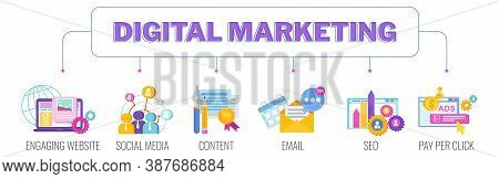 Digital Marketing Banner. Infographics Pictogram. Strategy, Management And Marketing. Successful Bus