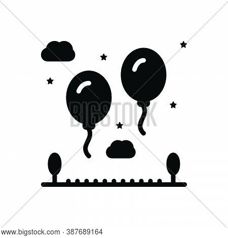 Black Solid Icon For Fly Balloon Colorful Air Ellipse Spectacular Wonderful Blooming Helium