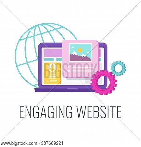 Website Design Icon. Creative Design. Company Engaging Site, Webpage Or Landing Page On Internet. Fl