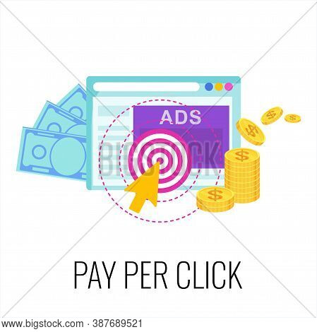 Pay Per Click Infographics Pictogram. Strategy, Management And Marketing. Internet Advertising Model