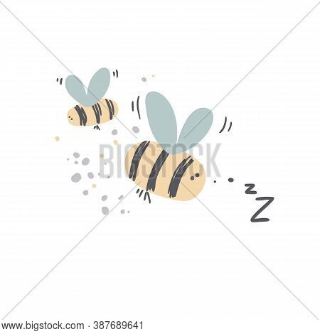 Cute Honey Bees Vector Illustration In Cartoon Style. Bumblebee Clipart.